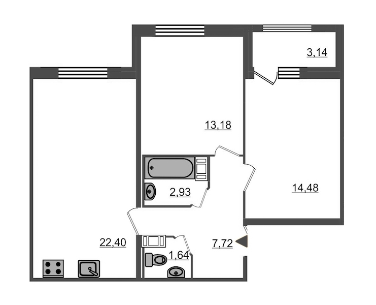 2-комнатная 63 м<sup>2</sup> на 4 этаже