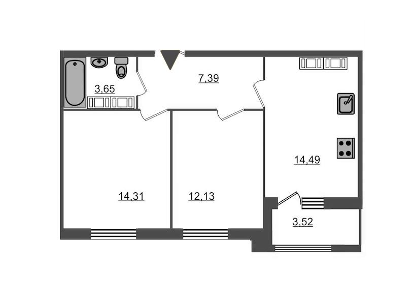 2-комнатная 53 м<sup>2</sup> на 17 этаже