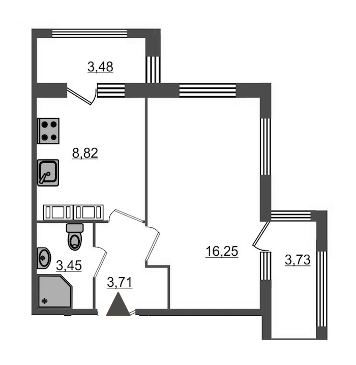 1-комнатная 35 м<sup>2</sup> на 16 этаже
