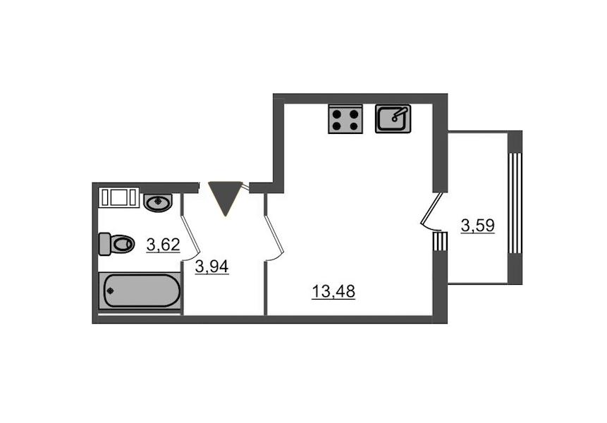 Студия 22 м<sup>2</sup> на 9 этаже