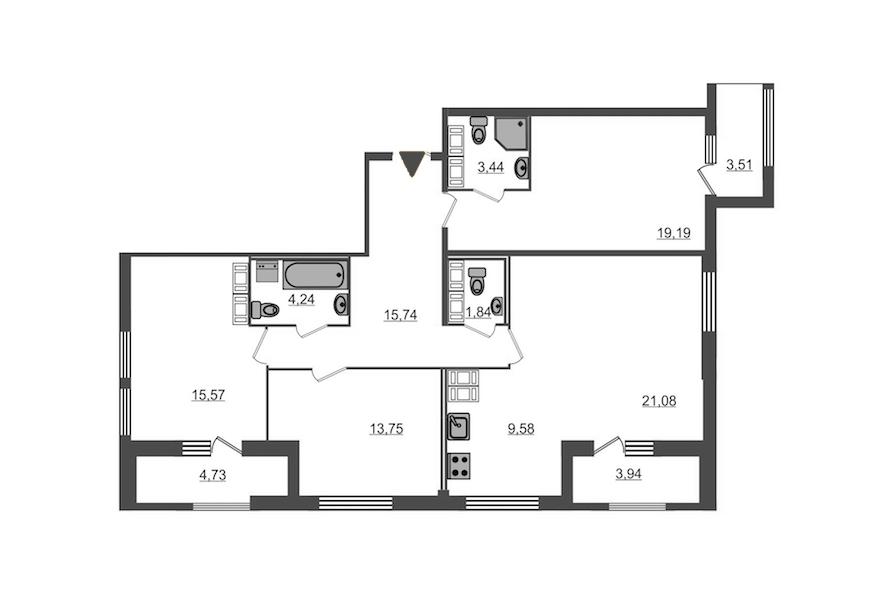 3-комнатная 110 м<sup>2</sup> на 16 этаже