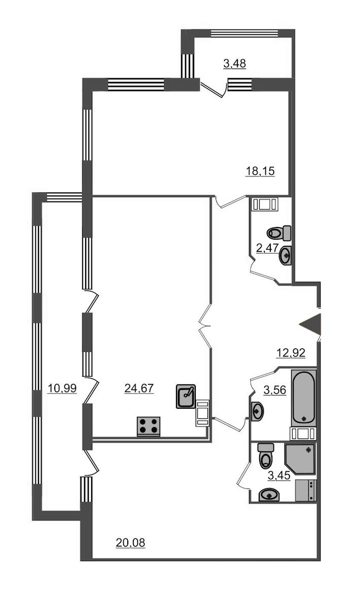 2-комнатная 92 м<sup>2</sup> на 4 этаже
