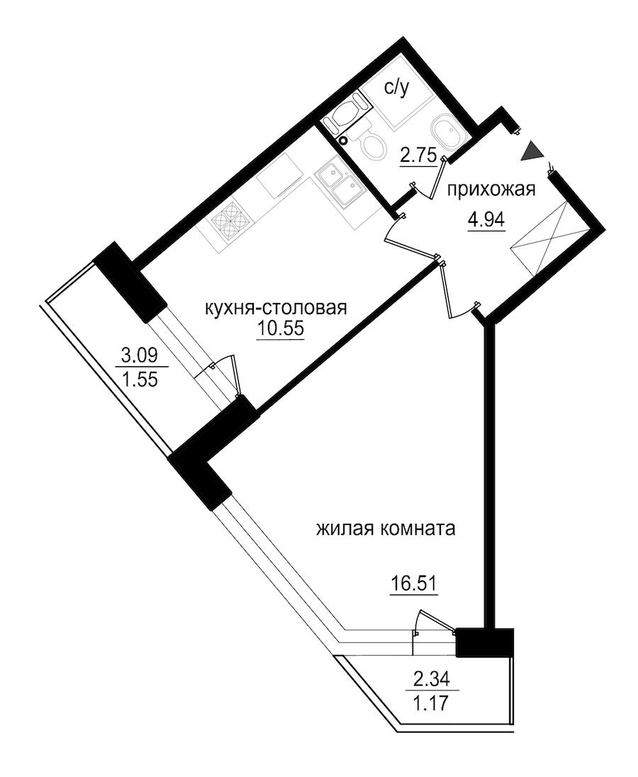 1-комнатная 37 м<sup>2</sup> на 9 этаже