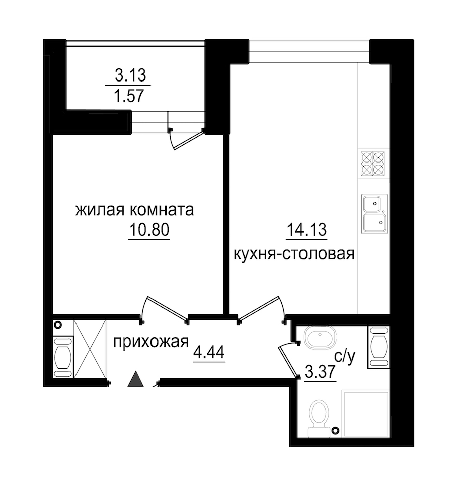 1-комнатная 34 м<sup>2</sup> на 11 этаже