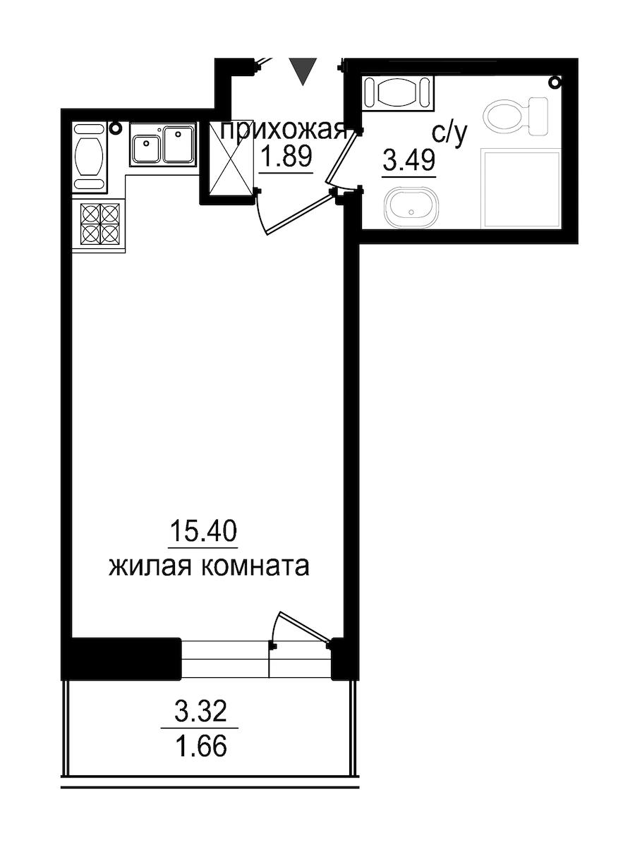 Студия 22 м<sup>2</sup> на 13 этаже