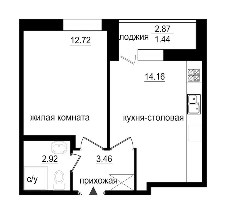 1-комнатная 34 м<sup>2</sup> на 1 этаже