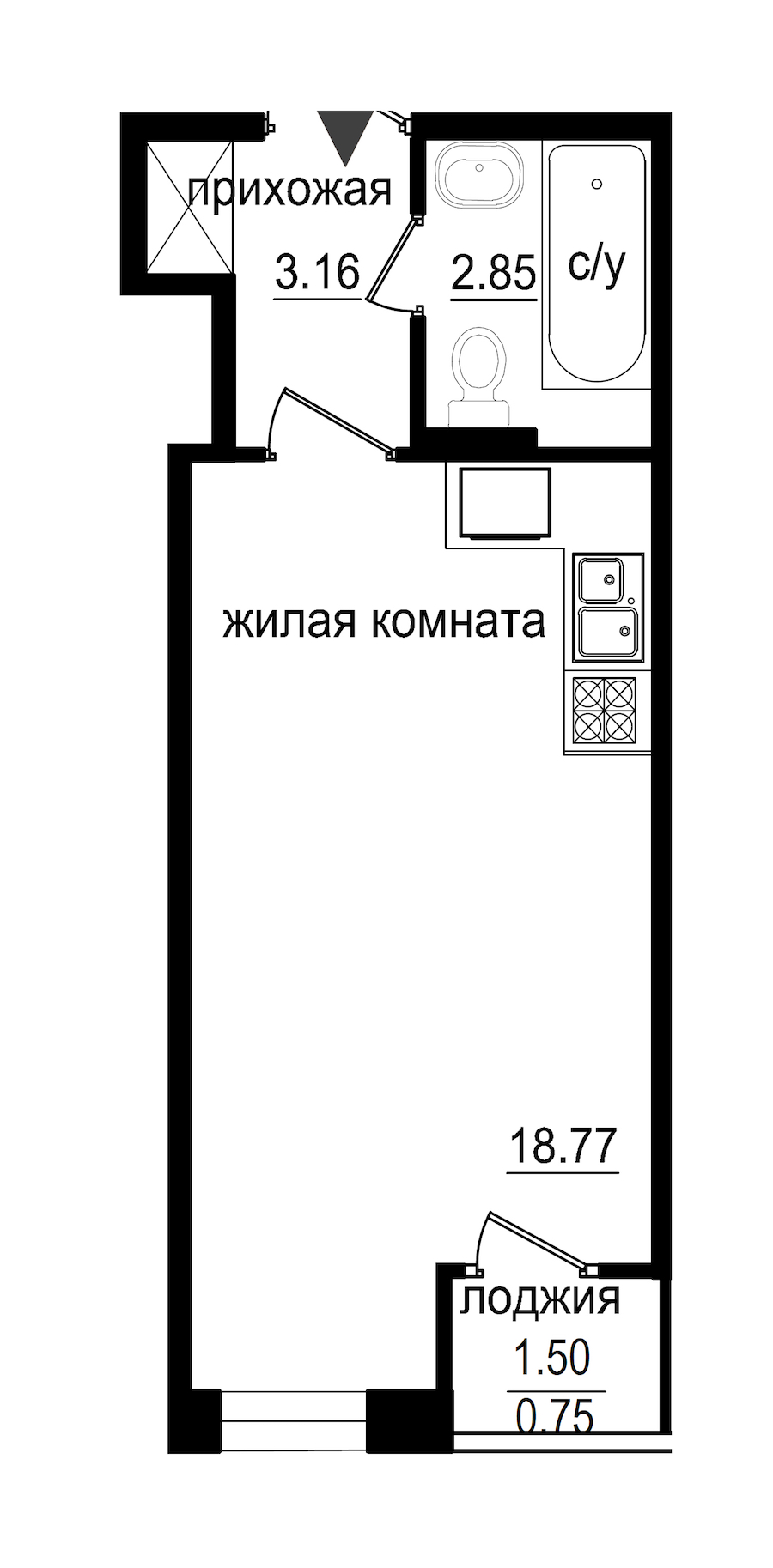 Студия 25 м<sup>2</sup> на 1 этаже