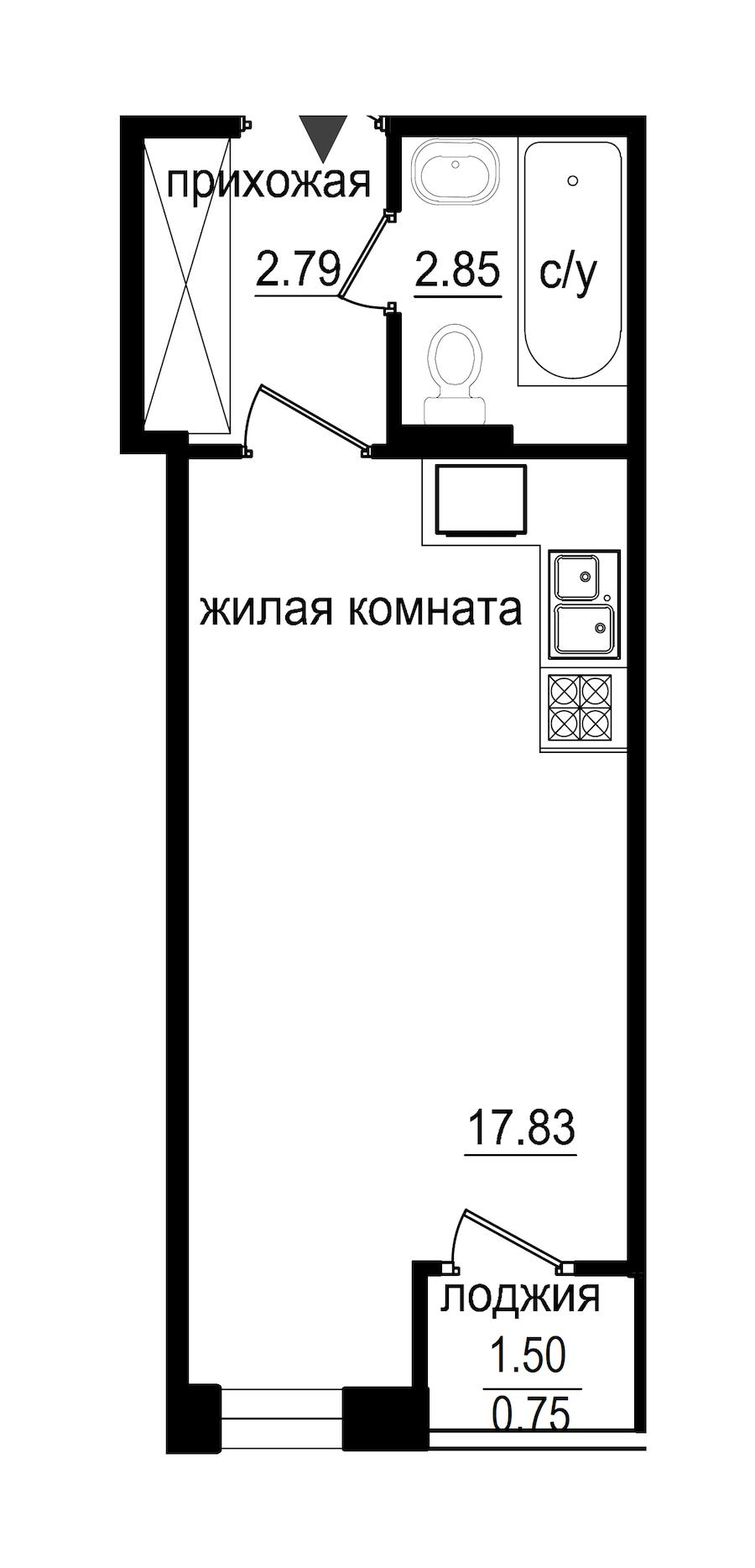 Студия 24 м<sup>2</sup> на 1 этаже