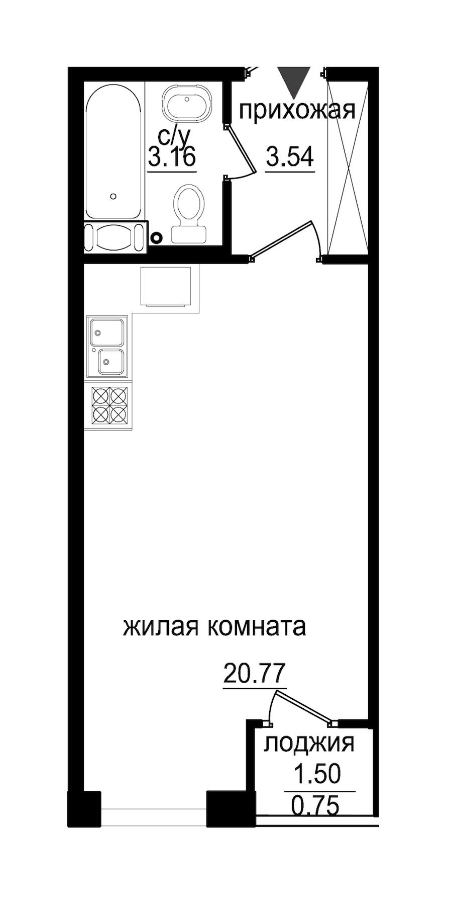 Студия 28 м<sup>2</sup> на 4 этаже