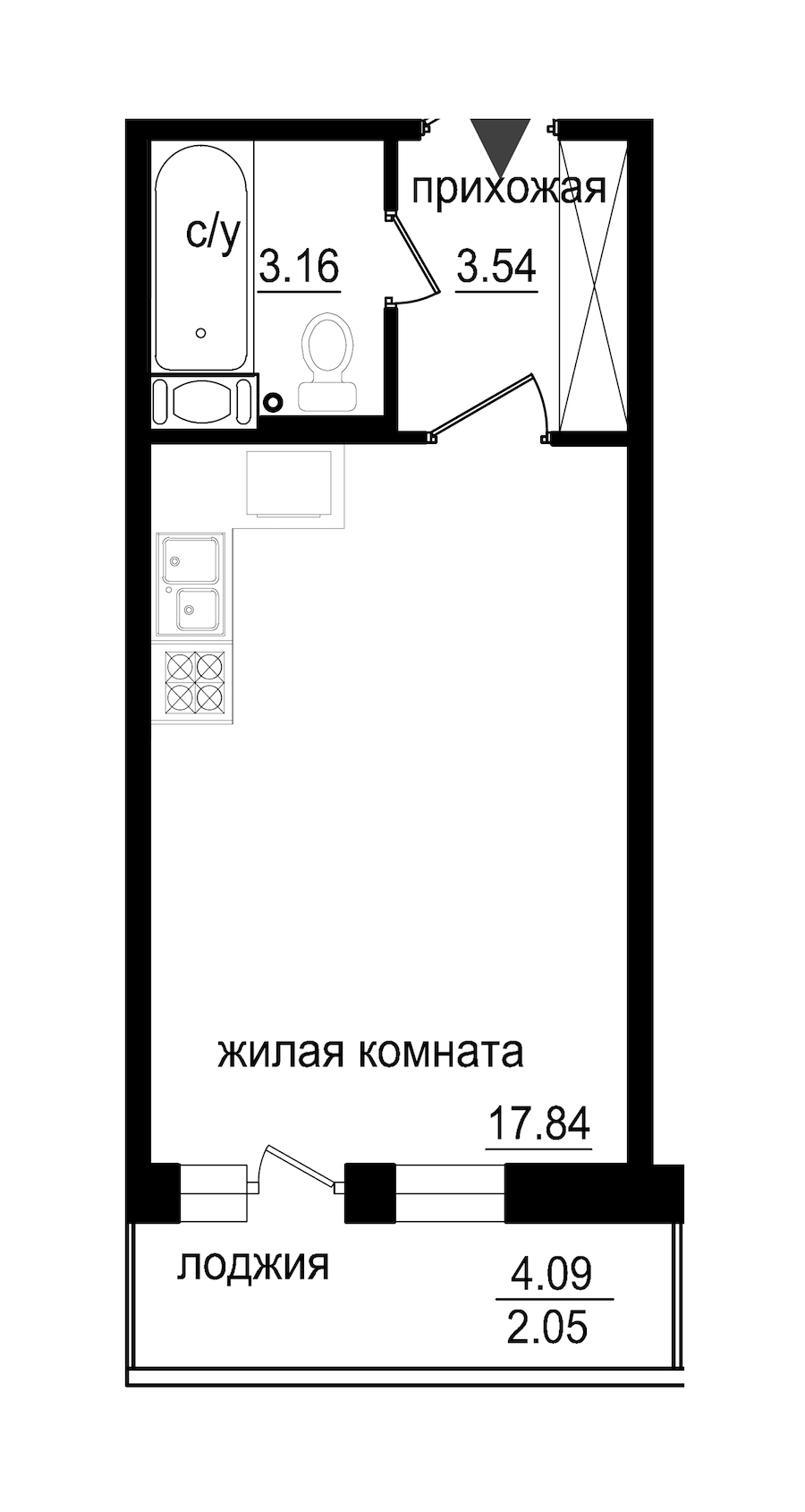 Студия 26 м<sup>2</sup> на 7 этаже