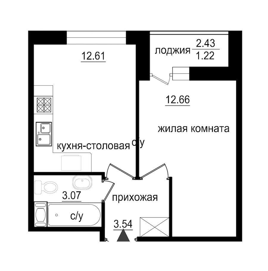 1-комнатная 33 м<sup>2</sup> на 6 этаже