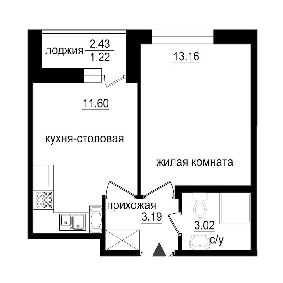 1-комнатная 32 м<sup>2</sup> на 6 этаже