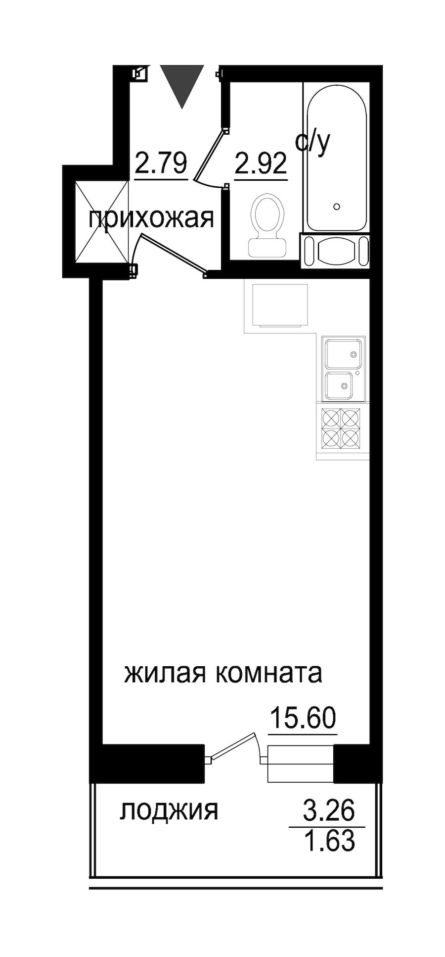 Студия 22 м<sup>2</sup> на 6 этаже