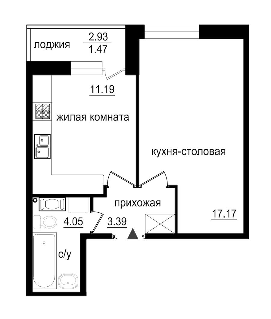 1-комнатная 37 м<sup>2</sup> на 10 этаже