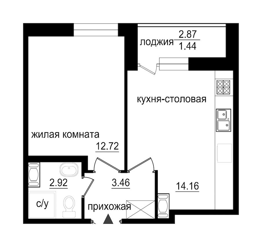 1-комнатная 34 м<sup>2</sup> на 9 этаже