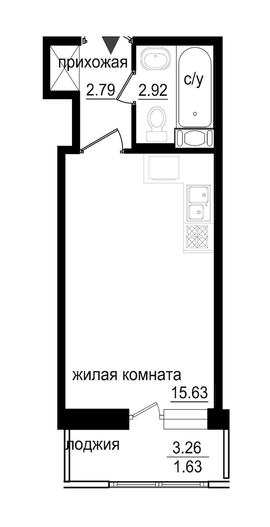 Студия 22 м<sup>2</sup> на 5 этаже