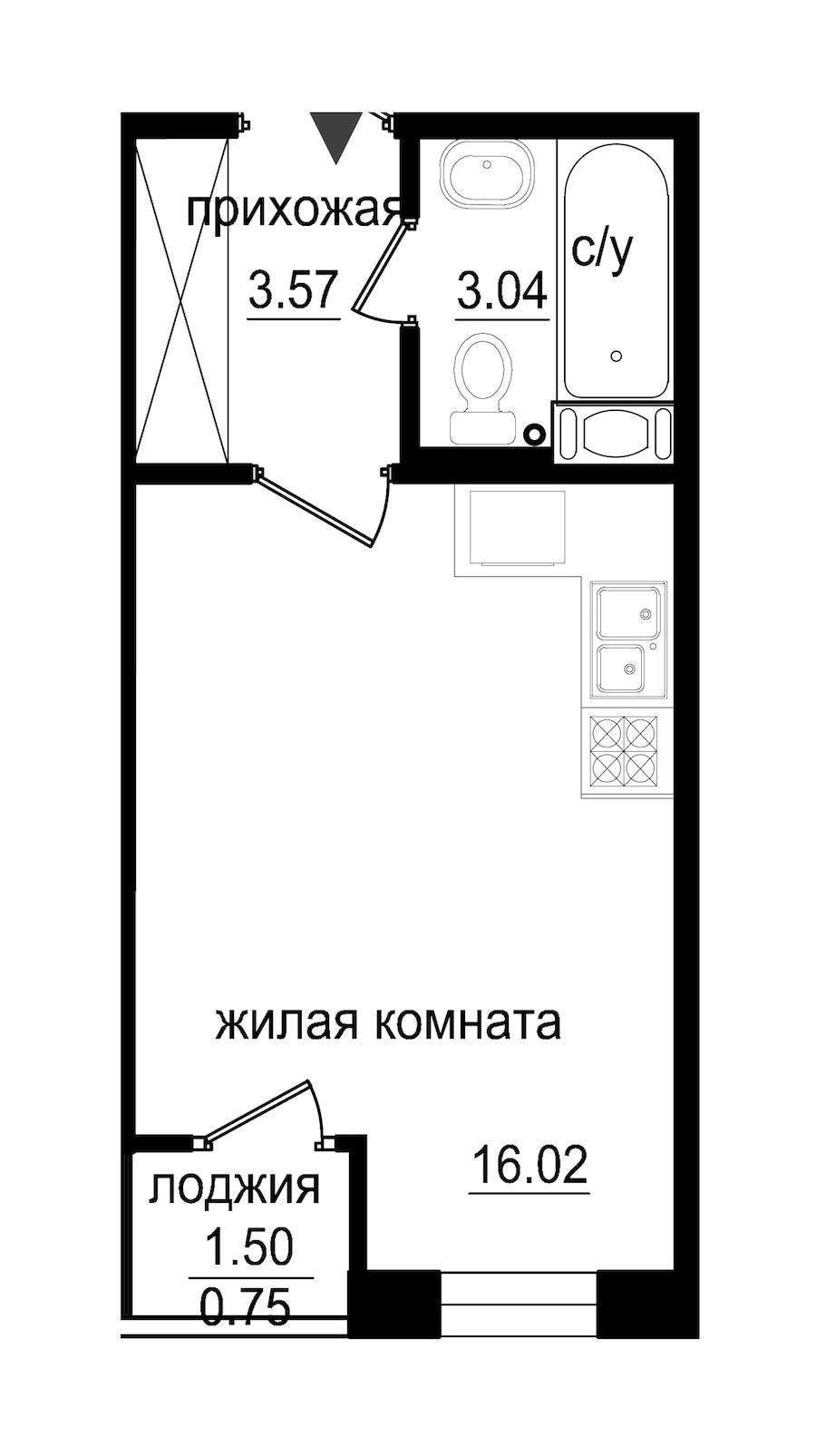 Студия 21 м<sup>2</sup> на 9 этаже