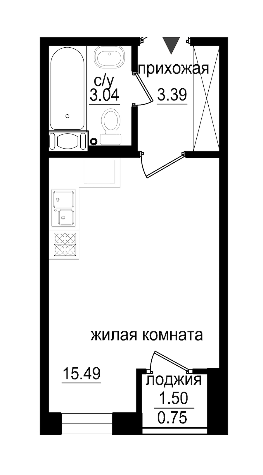 Студия 22 м<sup>2</sup> на 4 этаже