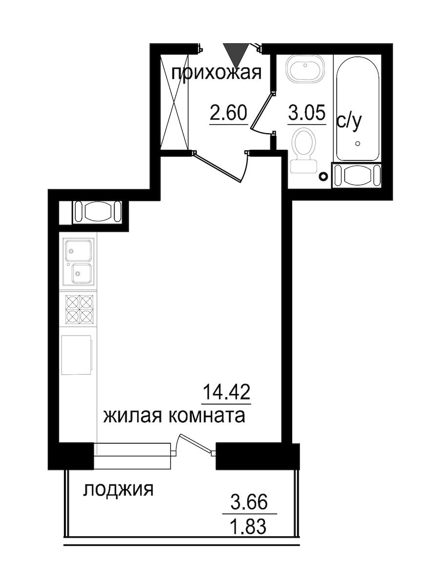 Студия 21 м<sup>2</sup> на 3 этаже