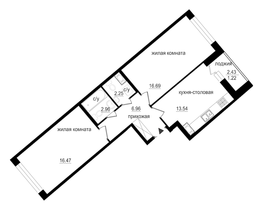 2-комнатная 60 м<sup>2</sup> на 5 этаже