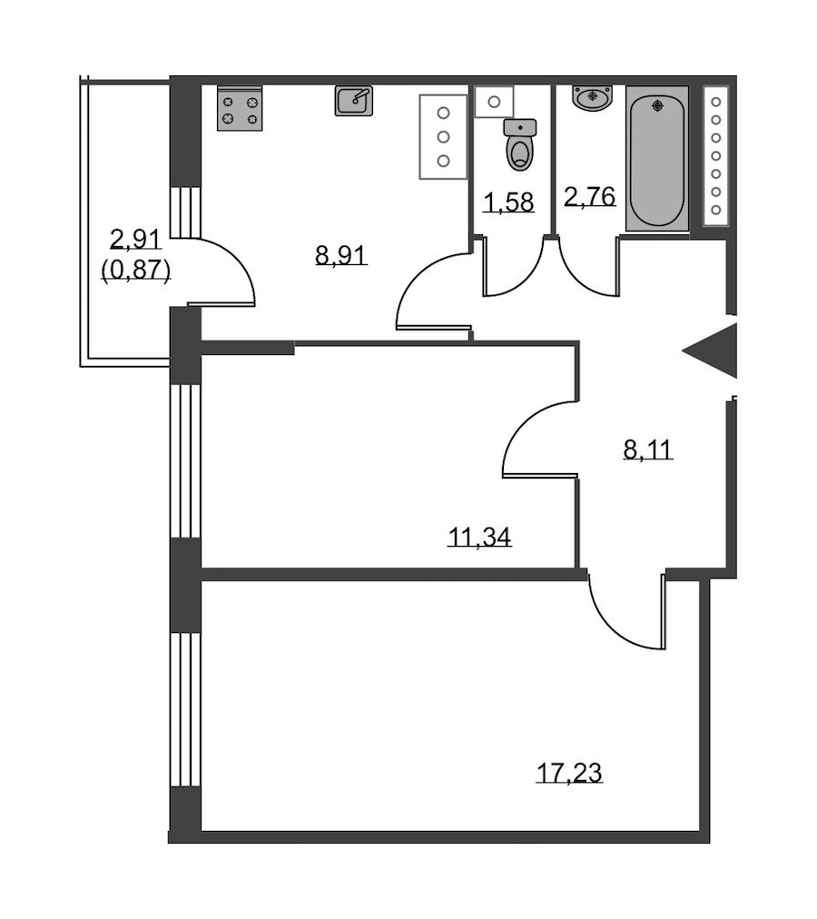 2-комнатная 50 м<sup>2</sup> на 19 этаже