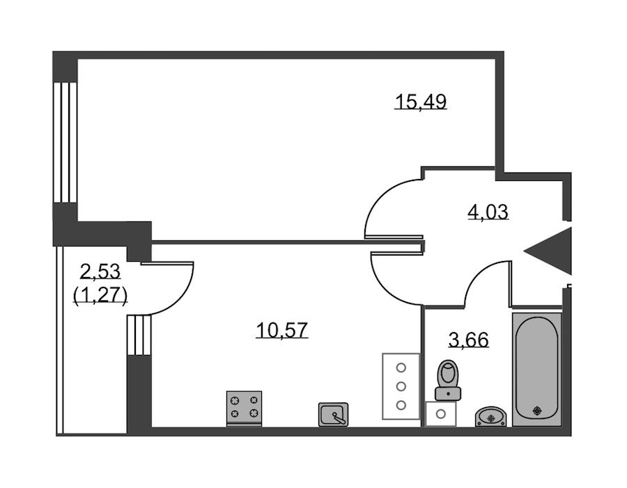 1-комнатная 35 м<sup>2</sup> на 18 этаже