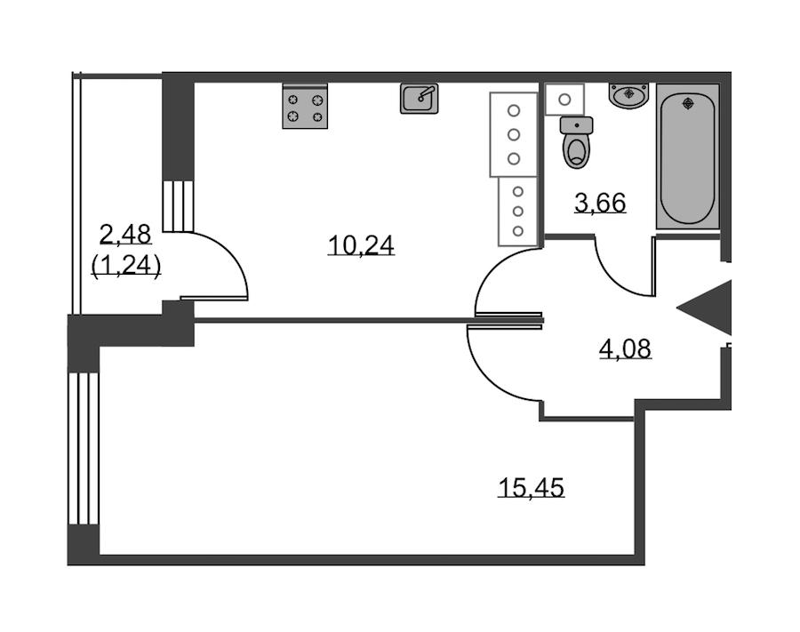 1-комнатная 34 м<sup>2</sup> на 24 этаже