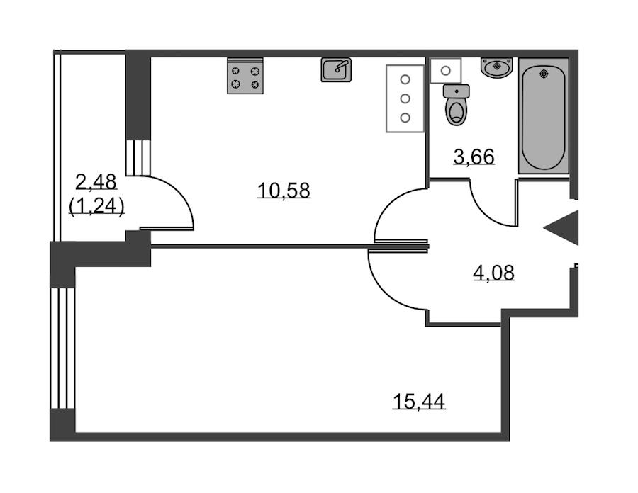 1-комнатная 35 м<sup>2</sup> на 19 этаже