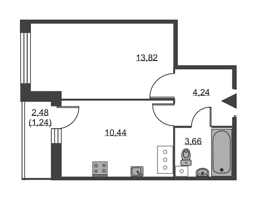 1-комнатная 33 м<sup>2</sup> на 18 этаже