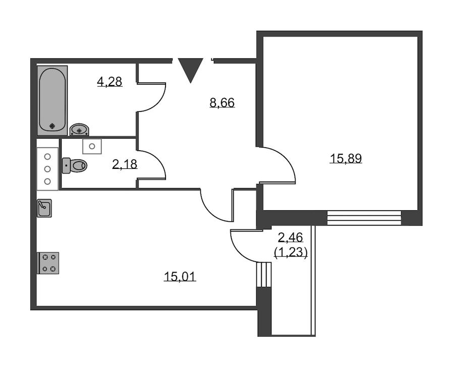 1-комнатная 47 м<sup>2</sup> на 19 этаже
