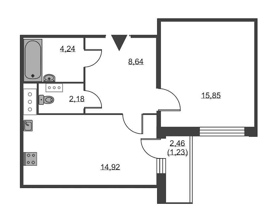 1-комнатная 47 м<sup>2</sup> на 11 этаже