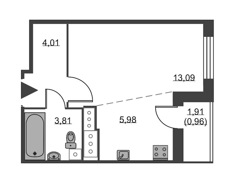 Студия 27 м<sup>2</sup> на 24 этаже