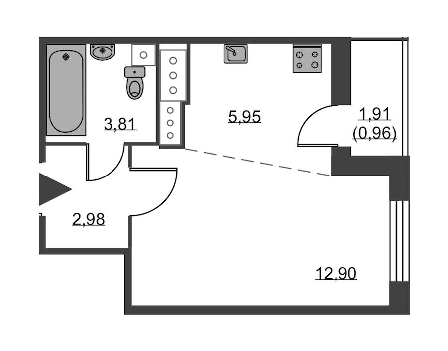 Студия 26 м<sup>2</sup> на 23 этаже