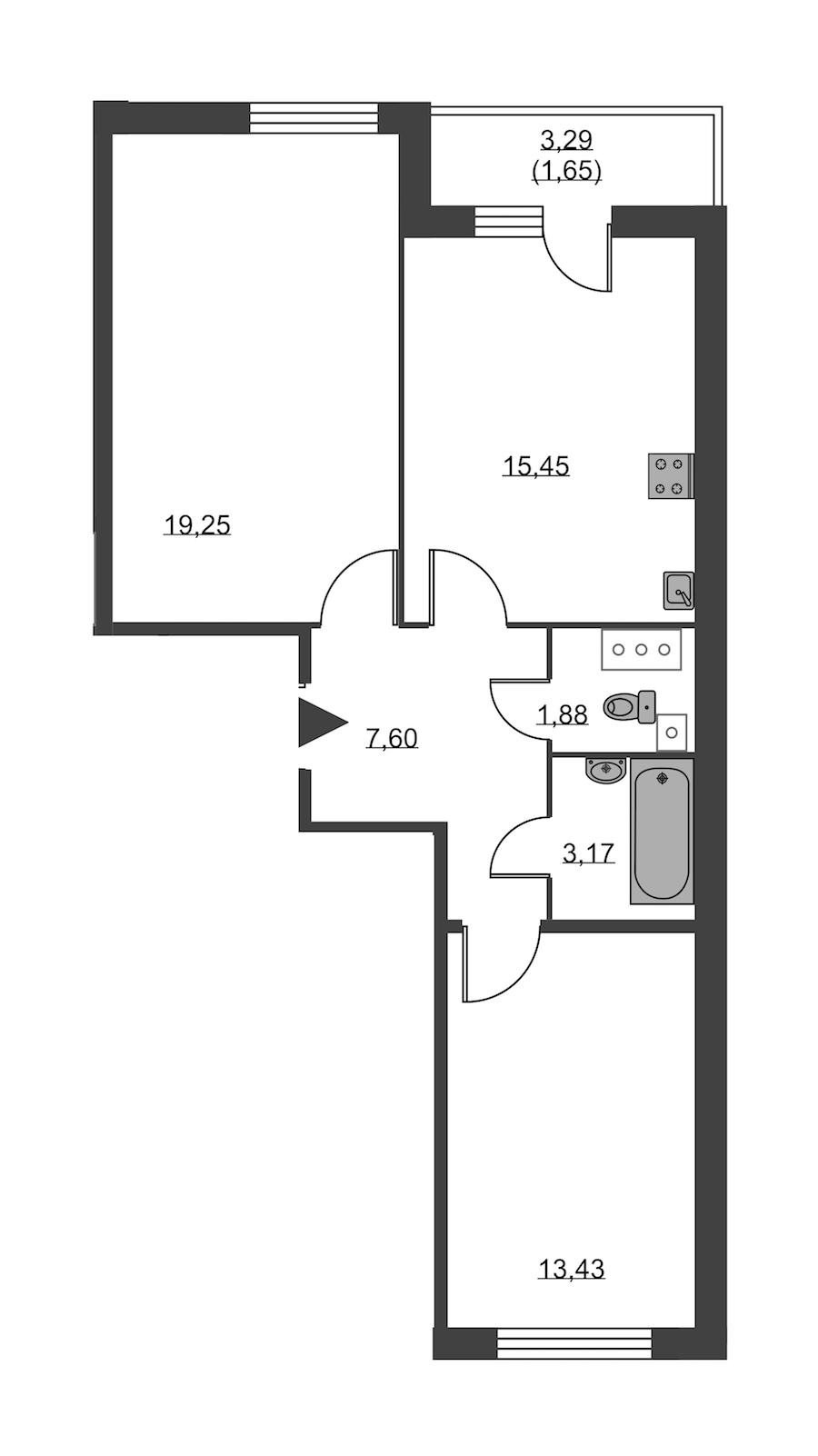 2-комнатная 62 м<sup>2</sup> на 18 этаже