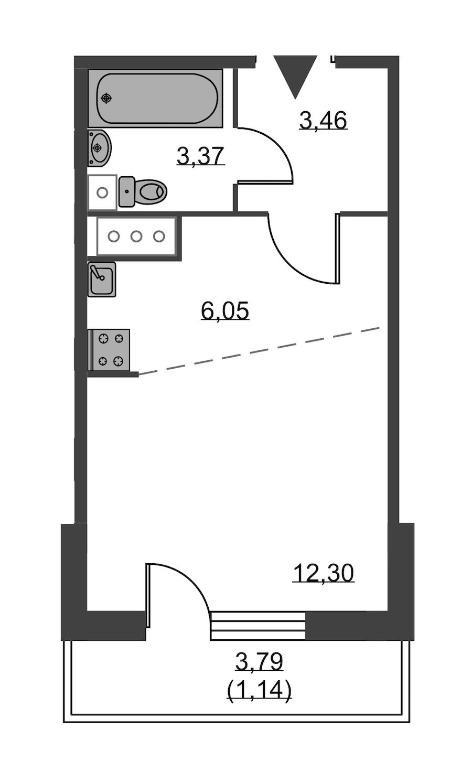 Студия 26 м<sup>2</sup> на 18 этаже