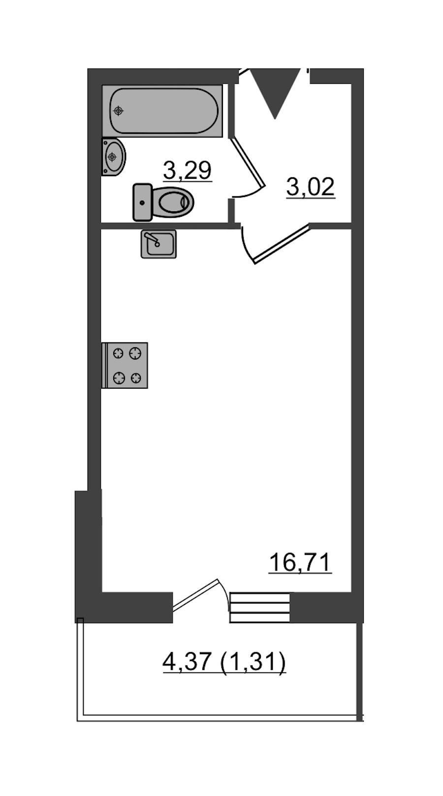 Студия 24 м<sup>2</sup> на 2 этаже