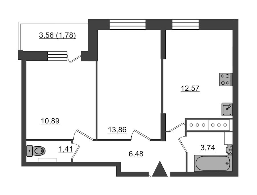 2-комнатная 50 м<sup>2</sup> на 23 этаже