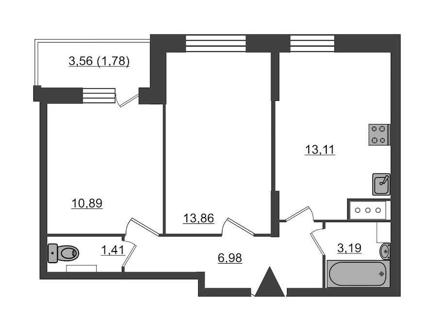 2-комнатная 51 м<sup>2</sup> на 11 этаже