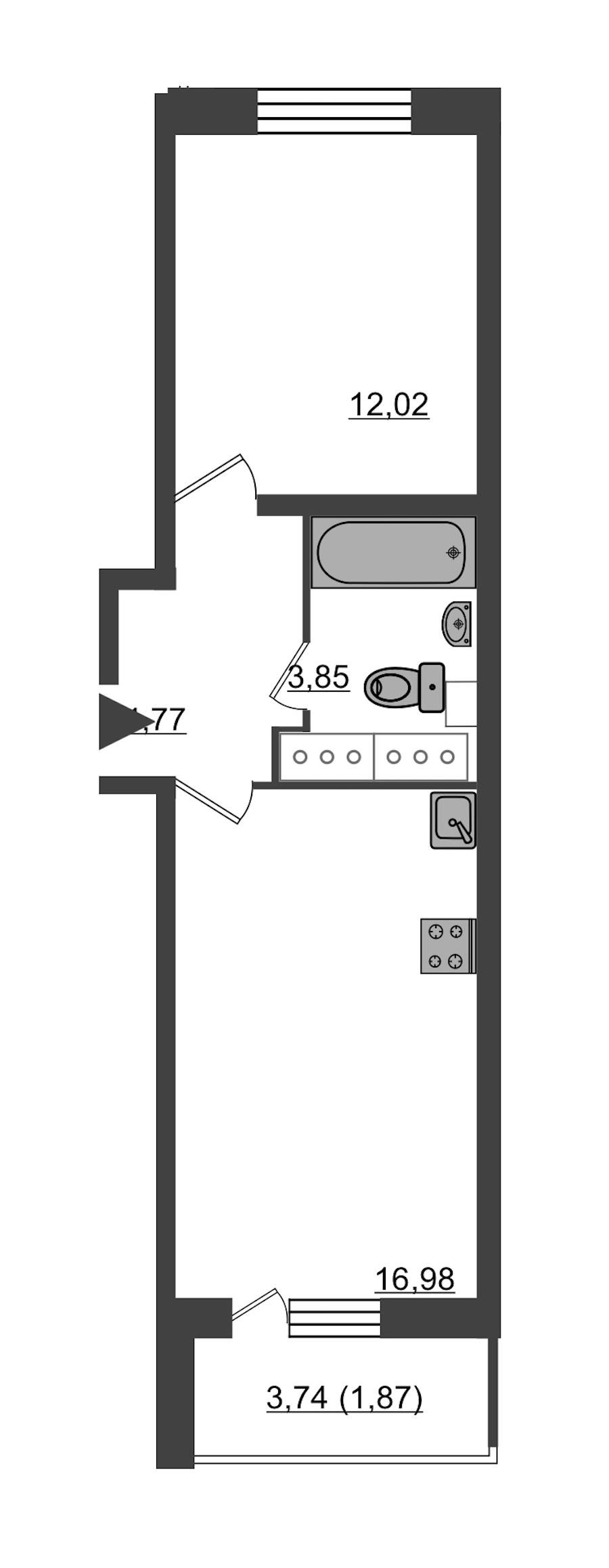 1-комнатная 39 м<sup>2</sup> на 23 этаже