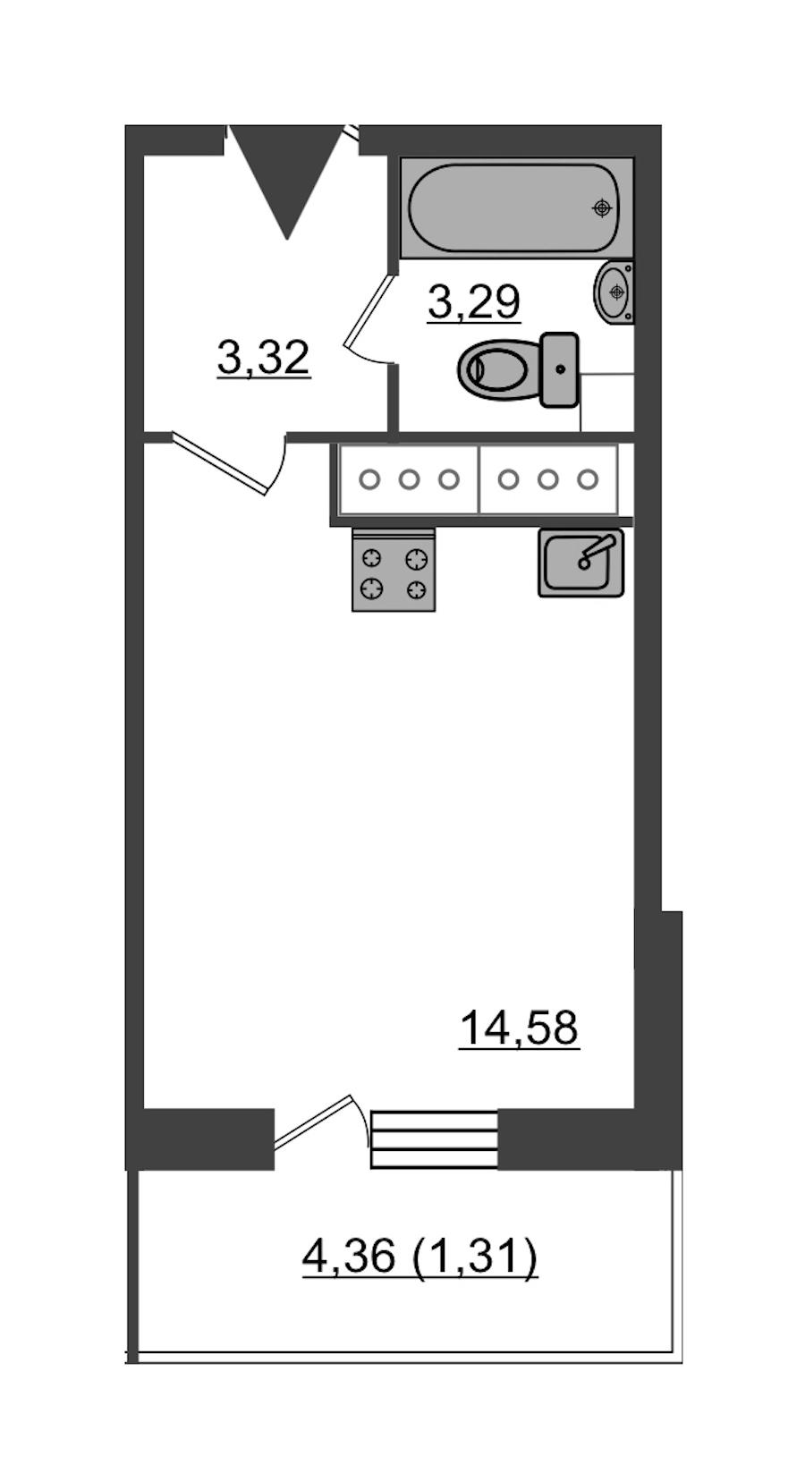 Студия 22 м<sup>2</sup> на 24 этаже