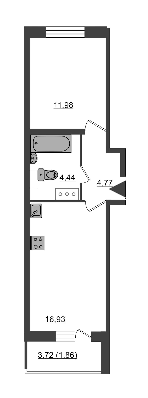 1-комнатная 40 м<sup>2</sup> на 24 этаже