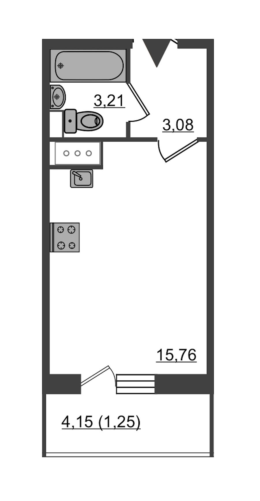 Студия 23 м<sup>2</sup> на 13 этаже