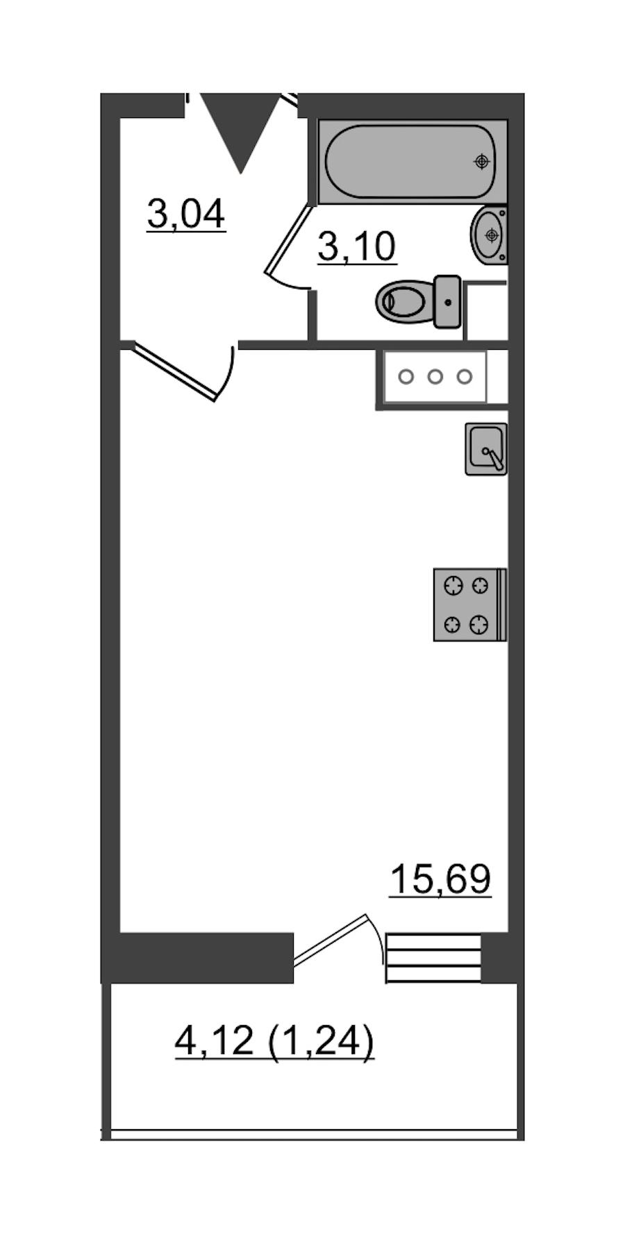 Студия 23 м<sup>2</sup> на 18 этаже
