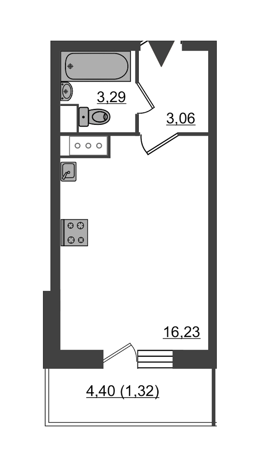 Студия 23 м<sup>2</sup> на 8 этаже