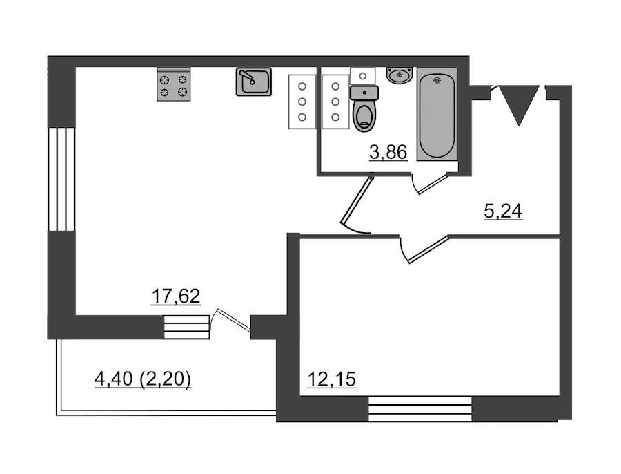 1-комнатная 41 м<sup>2</sup> на 21 этаже