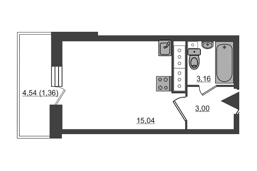 Студия 22 м<sup>2</sup> на 20 этаже