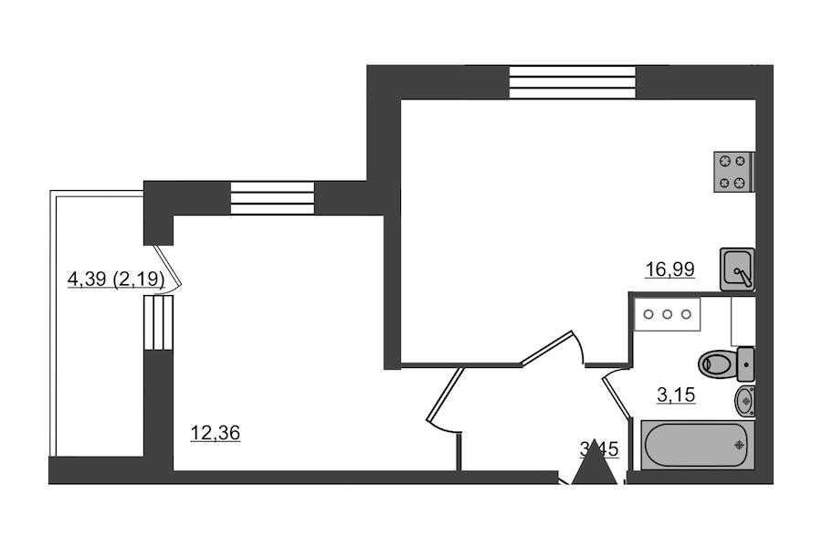 1-комнатная 38 м<sup>2</sup> на 10 этаже