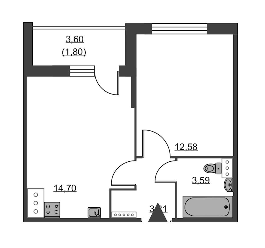 1-комнатная 35 м<sup>2</sup> на 2 этаже