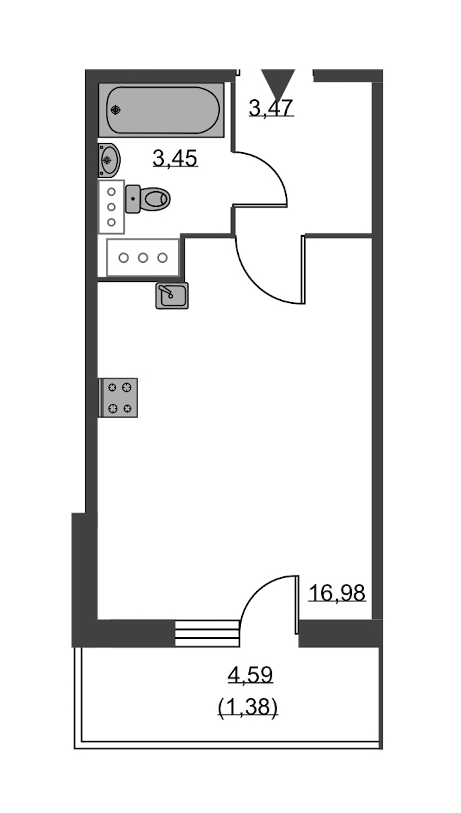 Студия 25 м<sup>2</sup> на 18 этаже