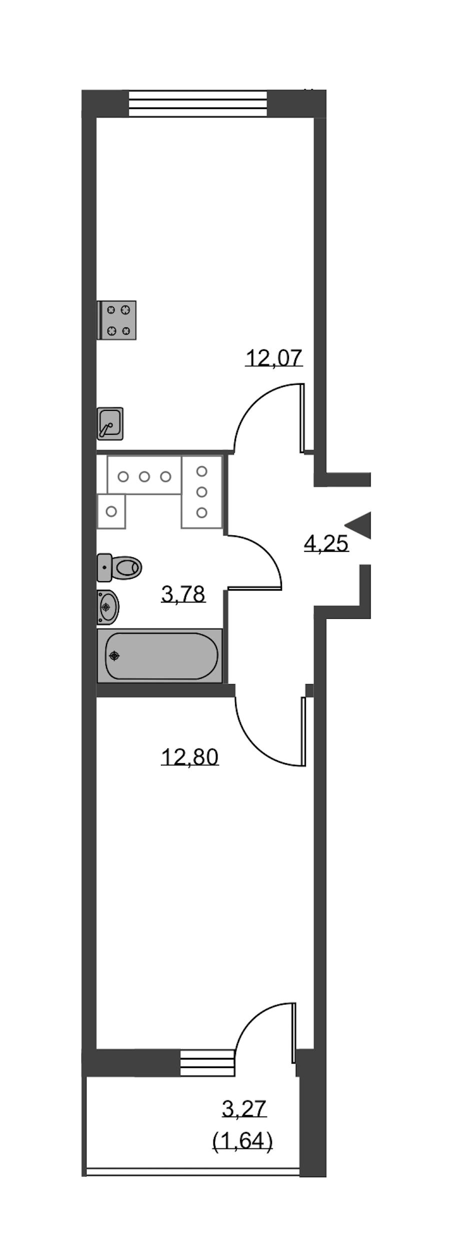 1-комнатная 35 м<sup>2</sup> на 23 этаже